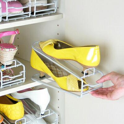 [えつこの楽々靴っこ6個組<シルバー>] 収納 靴 玄関 靴箱 下駄箱 日本製