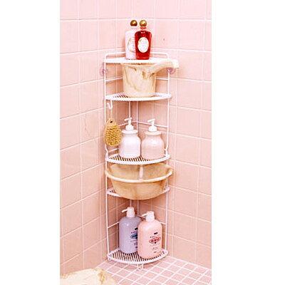 [コーナーラック5段]収納 浴室 風呂 洗面器 入浴グッズ キッチン リビング ホワイト 日本製