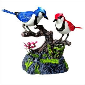 小鳥 赤い鳥 青い鳥 ハミングバード 鳴く鳥 音センサー インテリア 玩具 音が出る玩具 おもちゃ プレゼント 動く鳥 ハミングバード  音 鳥さえずり 癒し 玄関 ※動画有り