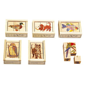 パズル 学習トイ アトリエフィッシャー 六面体パズル・6pcs・リアル AF603 知育パズル 知育玩具 知育 パズル 立体 立体パズル ジグソーパズル 幼児 木製 おもちゃ 木のおもちゃ 2歳 3歳 4歳 5歳