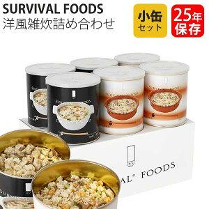 保存食 25年保存 サバイバルフーズ 洋風雑炊詰め合わせ 小缶 6缶セット 送料無料