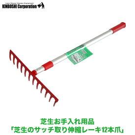 キンボシ GS芝生のサッチ取り伸縮レーキ12本爪 4036 送料無料 (芝のメンテナンス)