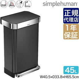 シンプルヒューマン レクタンギュラーステップダストボックス ライナーポケット付 45L 00185 simplehuman CW2053 ゴミ箱 大容量 送料無料