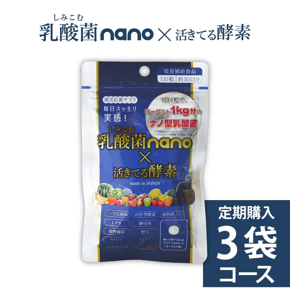 【お得な定期購入:3袋セット】長野のスーパーフードすんき漬由来!ナノ型乳酸菌+211種の酵素『乳酸菌nano×活きてる酵素』メール便対応・代引不可(※代引は別途手数料)