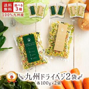 送料無料 国産 乾燥野菜 ミックス 九州ドライベジ100g×2袋(お湯で戻して約1kg)ゆうパケット(ポスト投函)・代引不可【出荷目安:ご注文後1〜2週間】
