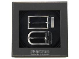 在庫処分 特価 レノマ renoma ベルト メンズ ギフトセット 牛革 2バックル リバーシブル ベルトセット 003 ブラック×ブラウン 新品