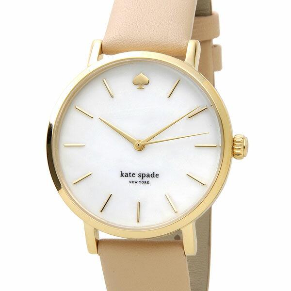 ケイトスペード kate spade 時計 1YRU0073 メトロ ホワイトシェル×ピンクベージュ革ベルト レディース 腕時計