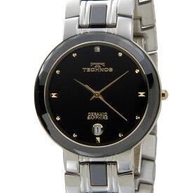 テクノス TECHNOS メンズ 腕時計 T9334TH セラミック×ステンレス ブラック×ゴールド 新品