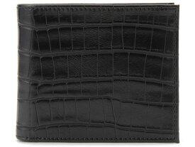モンテスピガ monte SPIGA 二つ折り財布 ブラック メンズ MOSQS371ABK クロコダイル型押しウォレット