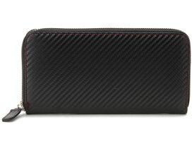 モンテスピガ monte SPIGA ラウンドファスナー長財布 ブラック MOSQS374DBKRD カーボンレザー型押しウォレット