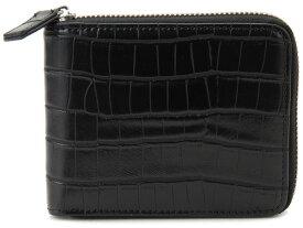 モンテスピガ monte SPIGA 二つ折り財布 ブラック メンズ MOSQS553BBK クロコダイル型押しウォレット