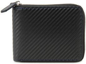 モンテスピガ monte SPIGA 二つ折り財布 ブラック×ブルー メンズ MOSQS553CBKBL カーボンレザー型押しウォレット