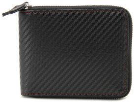 モンテスピガ monte SPIGA 二つ折り財布 ブラック×レッド メンズ MOSQS553CBKRD カーボンレザー型押しウォレット