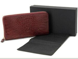 RODANIAロダニアCAIMANカイマンワニ革ラウンドファスナー長財布ワインレッドマット高級皮革財布
