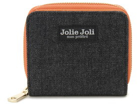 Jolie Joli ジョリージョリ 二つ折りラウンド財布 2017901-007 デニム レディース 財布 ブラック×オレンジ 新品