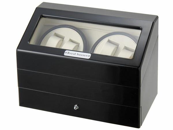 Royal hausen ロイヤルハウゼン ワインダー 時計収納ケース付きワインダー4本巻5本収納 SR074 BK ワインディングマシーン 腕時計/自動巻き機