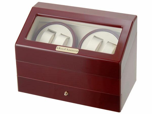 Royal hausen ロイヤルハウゼン ワインダー 時計収納ケース付きワインダー4本巻5本収納 SR074 RD ワインディングマシーン 腕時計/自動巻き機 DEAL