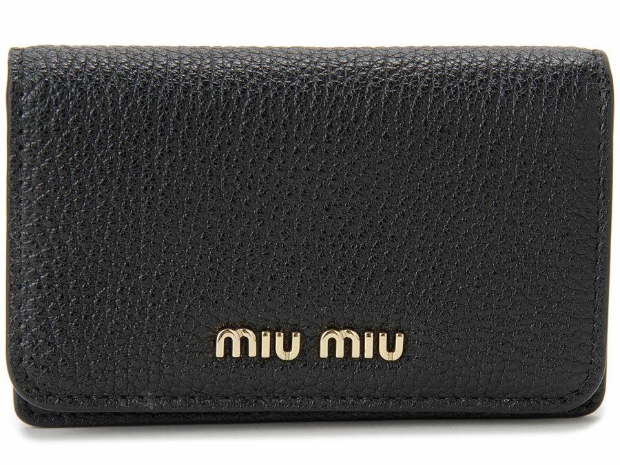 ミュウミュウ MIU MIU 名刺入れ 5MC011 2BJI F0UMV カードケース レザー ブラック×ピンク レディース 新品