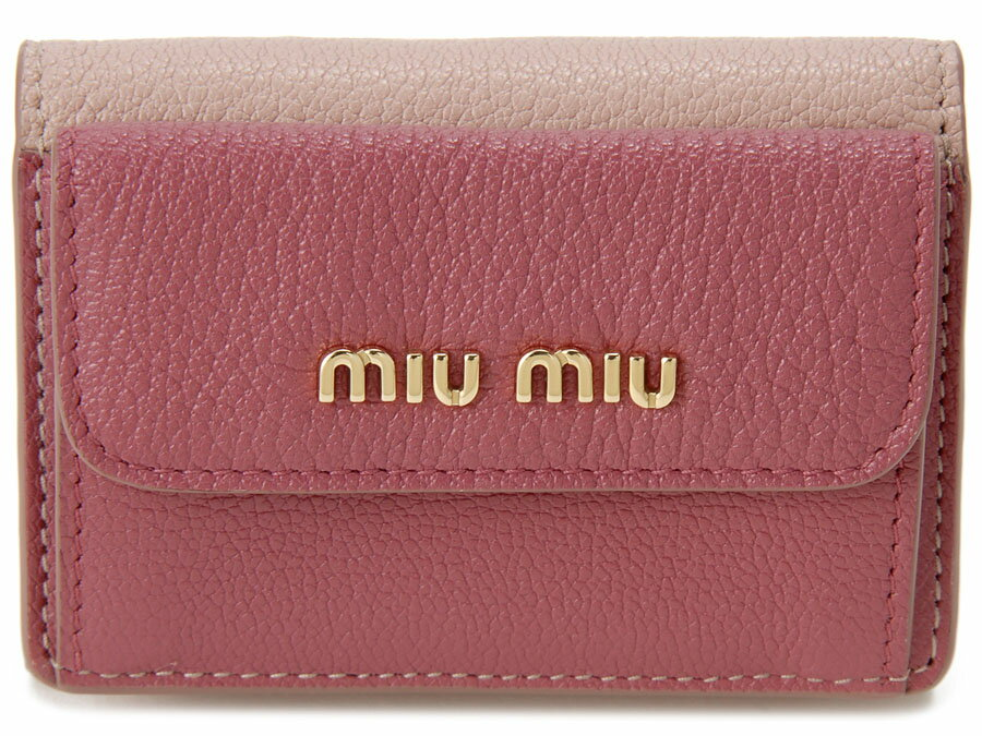 ミュウミュウ MIU MIU 三つ折り 財布 5MH020 2BJI F0UQH コンパクト 財布 ピンク レディース P10SP