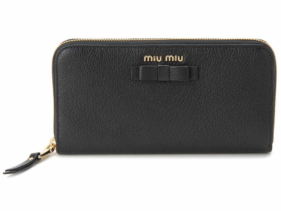 令和セール ミュウミュウ MIU MIU ラウンドファスナー 長財布 5ML506 3R7 F0002 本革 リボン 財布 ブラック レディース