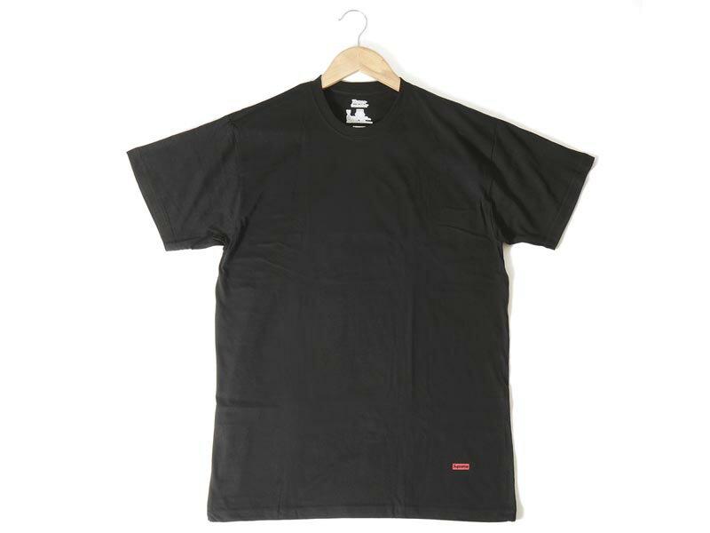 シュプリーム × ヘインズ コラボ Tシャツ ブラック 3枚セット Supreme × Hanes 3 PACK メンズ 半袖 P10SP