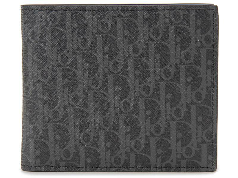 ディオールオム Dior Homme 二つ折り財布 2DEBC027 XIS H02G モノグラム レザー ダークグレー メンズ 財布 【送料無料】