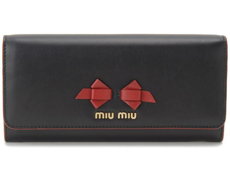 クリアランスセール ミュウミュウ MIU MIU 長財布 5MH109 UEI F0002 本革 リボン 財布 ブラック×レッド レディース 新品