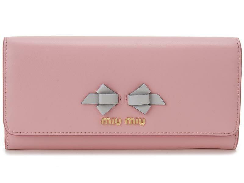 クリアランスセール ミュウミュウ MIU MIU 長財布 5MH109 UEI F0002 本革 リボン 財布 ピンク×ライトグレー レディース 新品