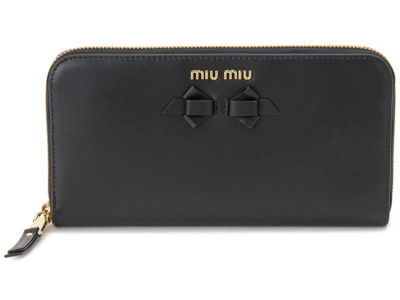 クリアランスセール ミュウミュウ MIU MIU ラウンドファスナー 長財布 5ML506 UEI F0002 本革 財布 ブラック レディース 新品