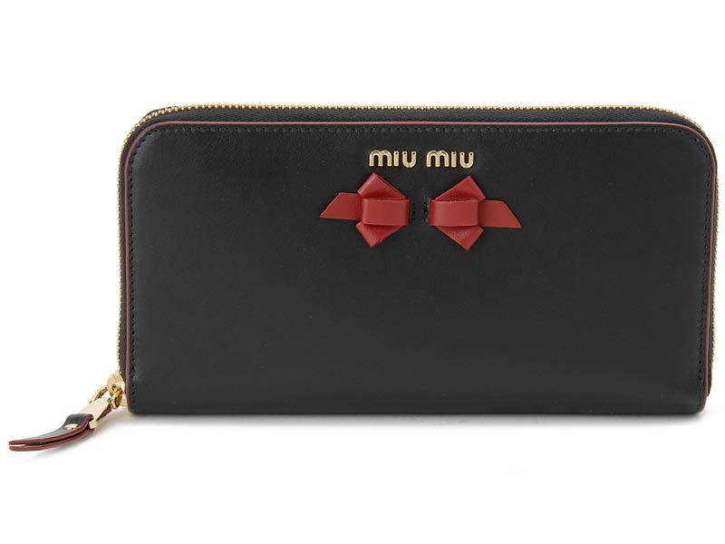 ミュウミュウ MIU MIU ラウンドファスナー 長財布 5ML506 UEI F0D9A 本革 リボン 財布 ブラック レディース 新品