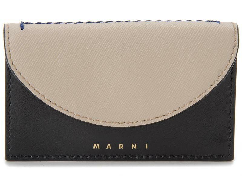 マルニ MARNI 名刺入れ PFMO0006Q0 ZI794 レザー カードケース ライトキャメル×ブラック レディース イタリアブランド 新品