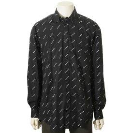 バレンシアガ BALENCIAGA シャツ メンズ 534333TBL961070 コットン100% ロゴ カジュアルシャツ ブラック