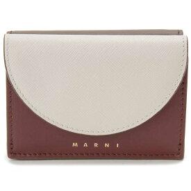マルニ MARNI 三つ折り財布 コンパクト財布 バーガンディ×ホワイト レディース