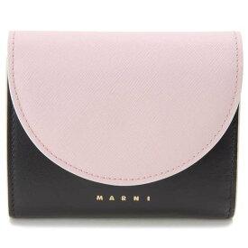 マルニ MARNI 三つ折り財布 コンパクト財布 ブラック×ピンク レディース