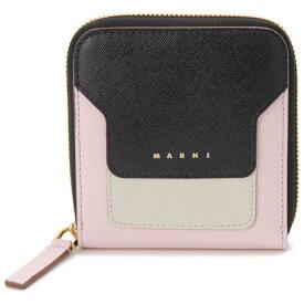 マルニ MARNI 二つ折り財布 コンパクト財布 ブラック×ホワイト×ピンク レディース