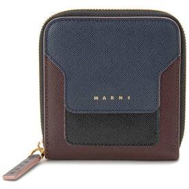マルニ MARNI 二つ折り財布 コンパクト財布 ブルー×ブラック×レッド レディース