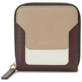 マルニ MARNI 二つ折り財布 コンパクト財布 ベージュ×ホワイト×ブラック レディース