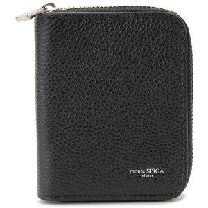 モンテスピガmonteSPIGA牛革本革コインケースメンズブラック黒MOSMSP005BKコンパクトラウンド財布