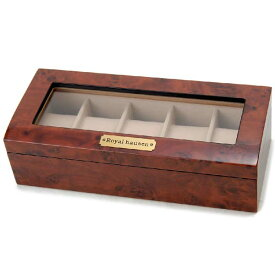 訳あり ボンド汚れ、外箱の傷み、小キズ等 ロイヤルハウゼン Royal hausen 時計収納ケース 腕時計時計コレクションケース ディスプレイケース 木製 ブラウン 5本用 新品