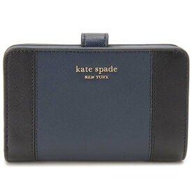 ケイトスペード KATE SPADE 二つ折り財布 レディース ネイビー×ブラック PWRU7748 856 コンパクト財布