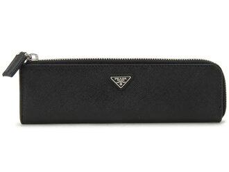 普拉达PRADA笔盒笔盒2ARH10-053-F0002 SAFFIANO NERO皮革黑色铅笔3瓶一套