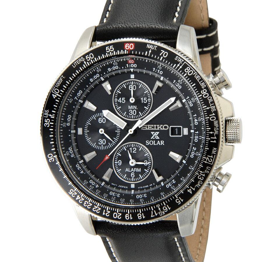 クリアランスセール 2万円均一 セイコー SEIKO SSC009P3 ソーラー フライトマスター パイロット アラーム クロノグラフ ブラック メンズ 腕時計