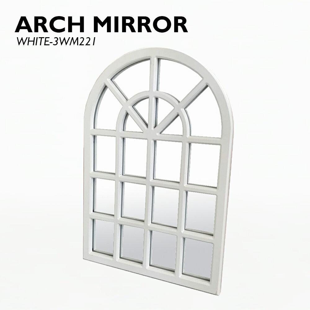 【アーチミラー ホワイト】木製 鏡 ミラー アーチ 格子 掛ける 置く 白 ホワイト カジュアル おしゃれ 北欧 デザイン 送料無料