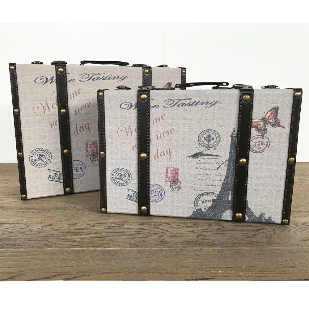 【トラベラースーツケース】エッフェル塔 ボックス ケース スーツケース 箱 アンティーク 小物入れ 収納 ふた付き コンパクト 取っ手 デザイン 2個セット ディスプレイ 送料無料