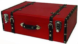 【クロコ調ケース】ボックス 木製 箱 アンティーク レトロ 小物入れ 収納 四角 ふた付き トランクケース レッド 赤 クロコ柄 デザイン ディスプレイ 送料無料