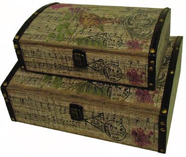 【ファブリックケース】 ボックス ケース 箱 アンティーク レトロ 小物入れ 収納 ふた付き コンパクト デザイン 2個セット ディスプレイ 送料無料