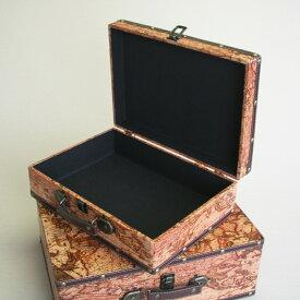 【古代地図スーツケース】古代地図 ボックス 箱 アンティーク レトロ 古びた 小物入れ 収納 ふた付き コンパクト デザイン 2個セット ディスプレイ 送料無料