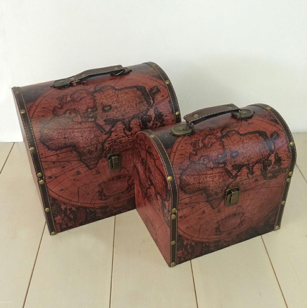 【ドーム型ケース】赤 ボックス ケース 箱 アンティーク レトロ 古びた 小物入れ 収納 ふた付き コンパクト 取っ手 デザイン 2個セット ディスプレイ 送料無料
