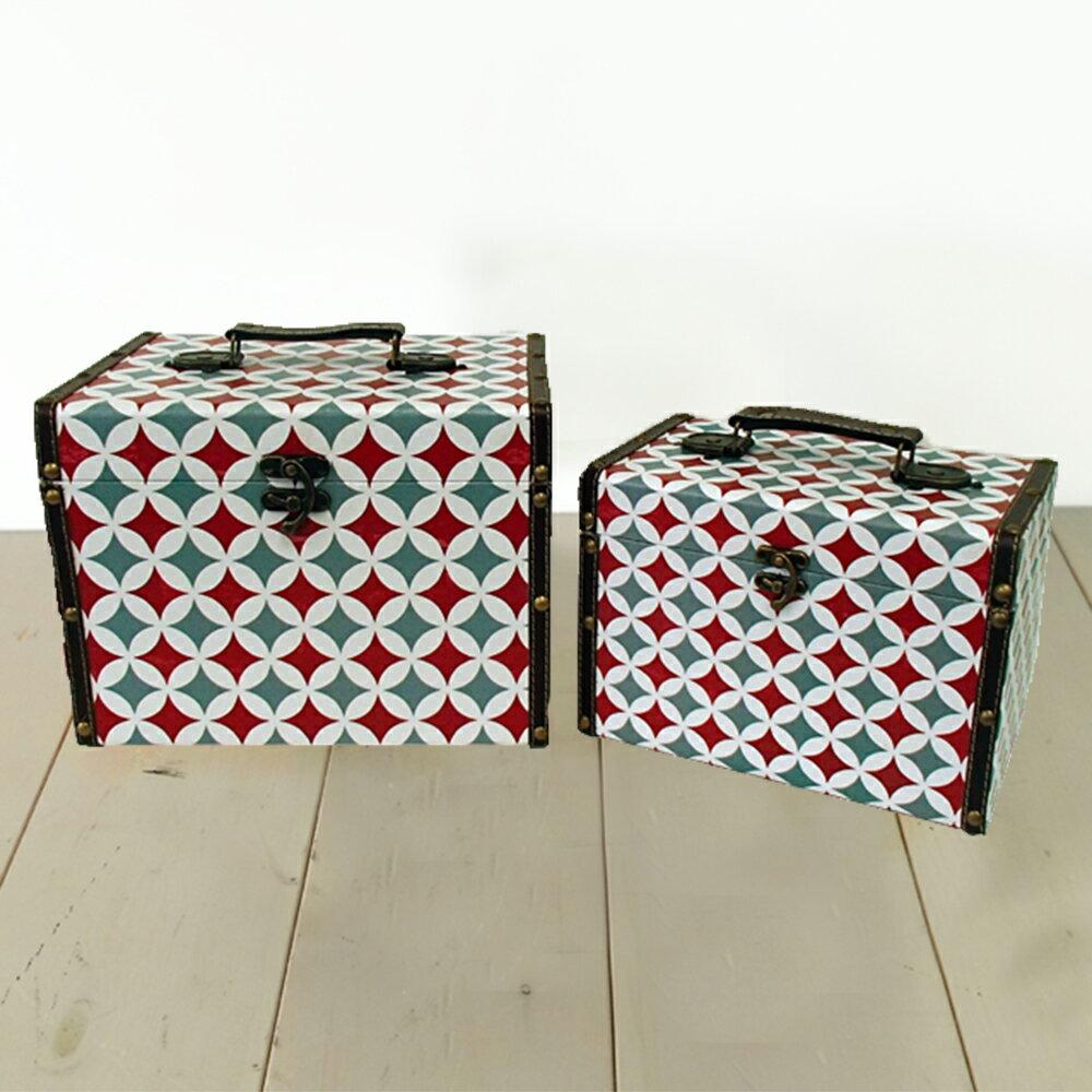 【ジオメトリックケース】 ホワイト ボックス ケース 箱 アンティーク レトロ スタッズ 小物入れ 収納 ふた付き コンパクト デザイン 2個セット ディスプレイ 送料無料