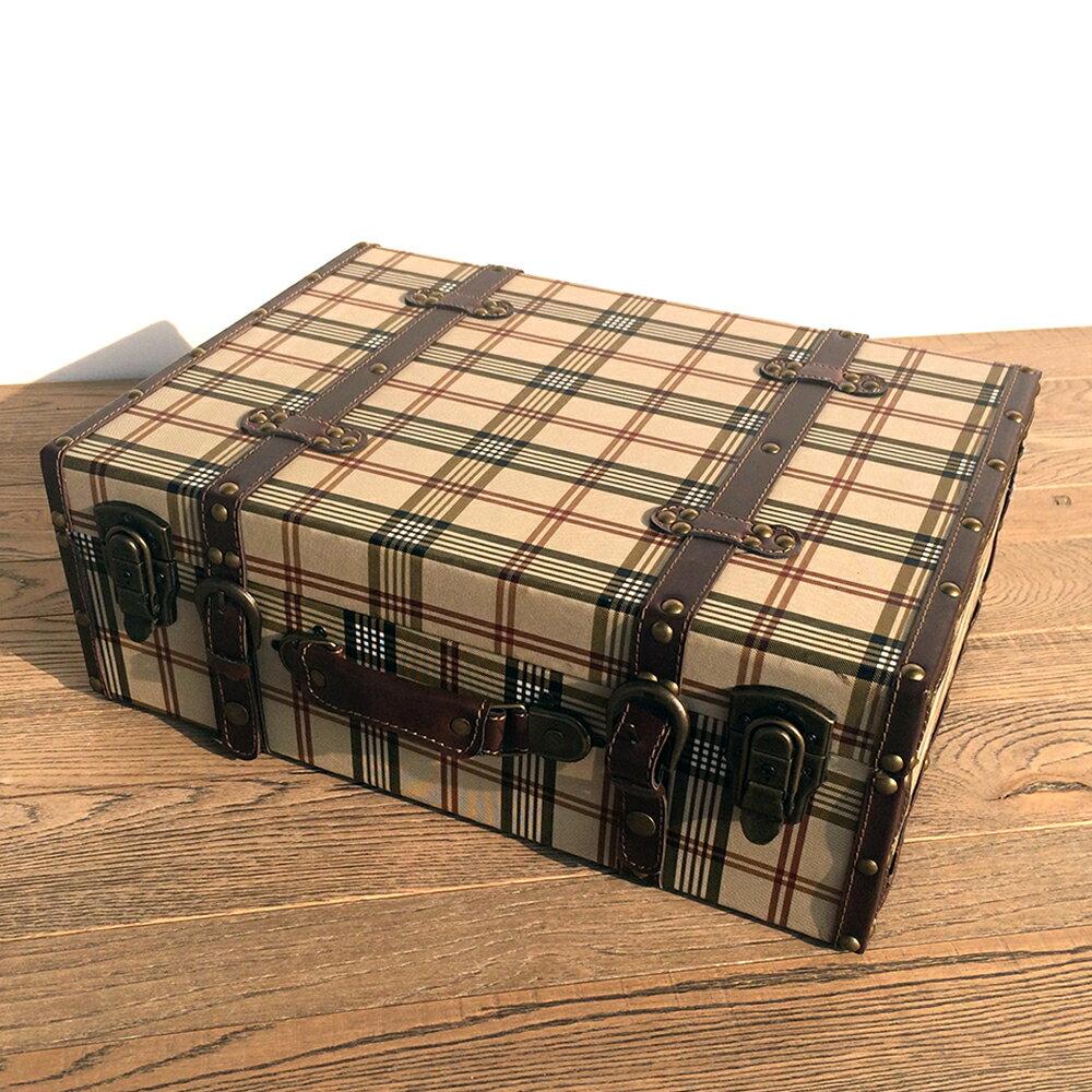 【チェック柄ケース】ボックス 木製 箱 アンティーク レトロ 小物入れ 収納 四角 ふた付き トランクケース かわいい おしゃれ デザイン ディスプレイ 送料無料